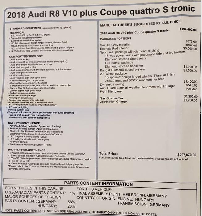 Used 2018 Audi R8 5.2 quattro V10 Plus For Sale In Greenwich, CT. Alfa Romeo of Greenwich, 7615 3360_p27