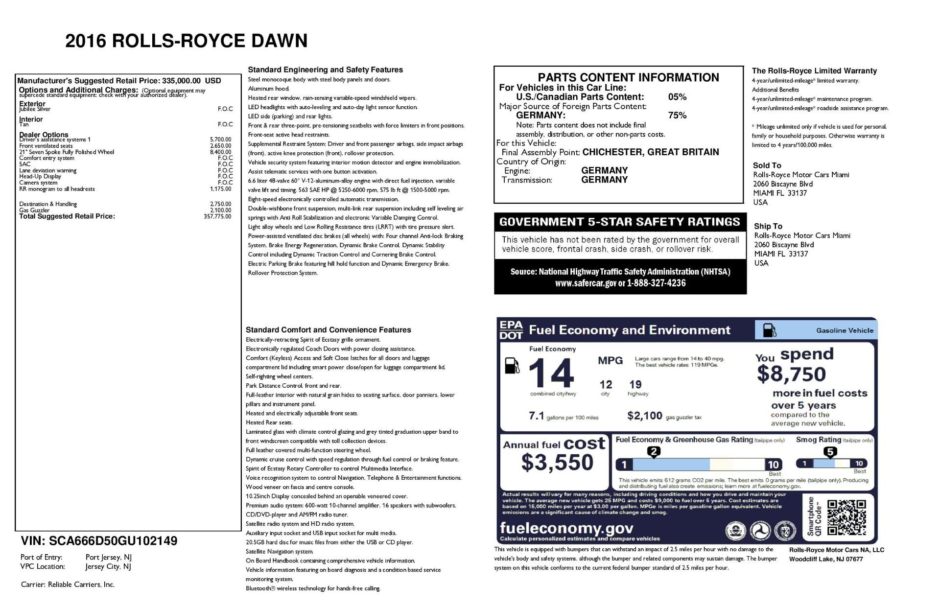 Used 2016 Rolls-Royce Dawn  For Sale In Greenwich, CT. Alfa Romeo of Greenwich, 7607 3373_p41