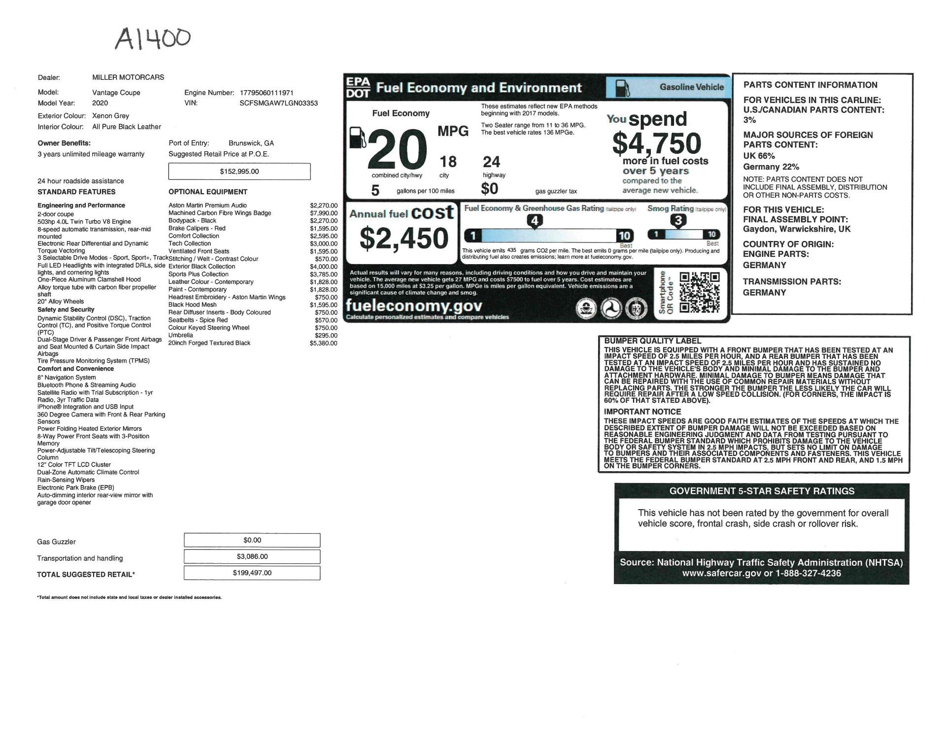 New 2020 Aston Martin Vantage  For Sale In Greenwich, CT. Alfa Romeo of Greenwich, A1400 3394_p20