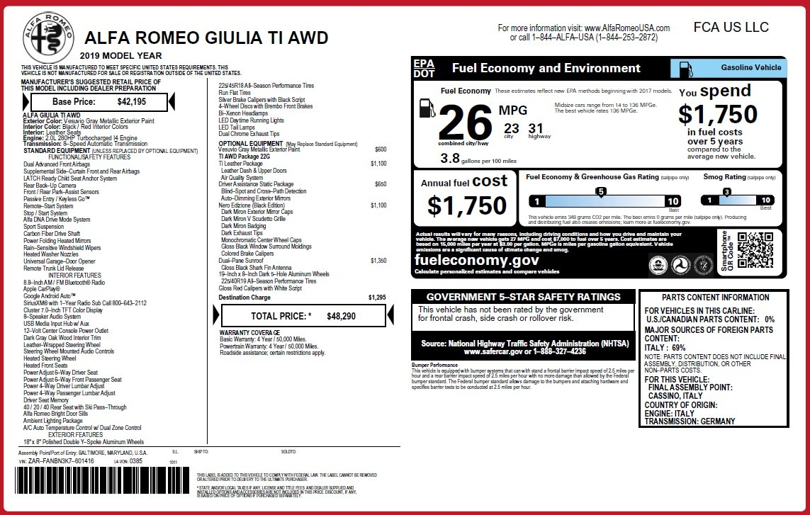 New 2019 Alfa Romeo Giulia Ti Q4 For Sale In Greenwich, CT. Alfa Romeo of Greenwich, LW381 3413_p2