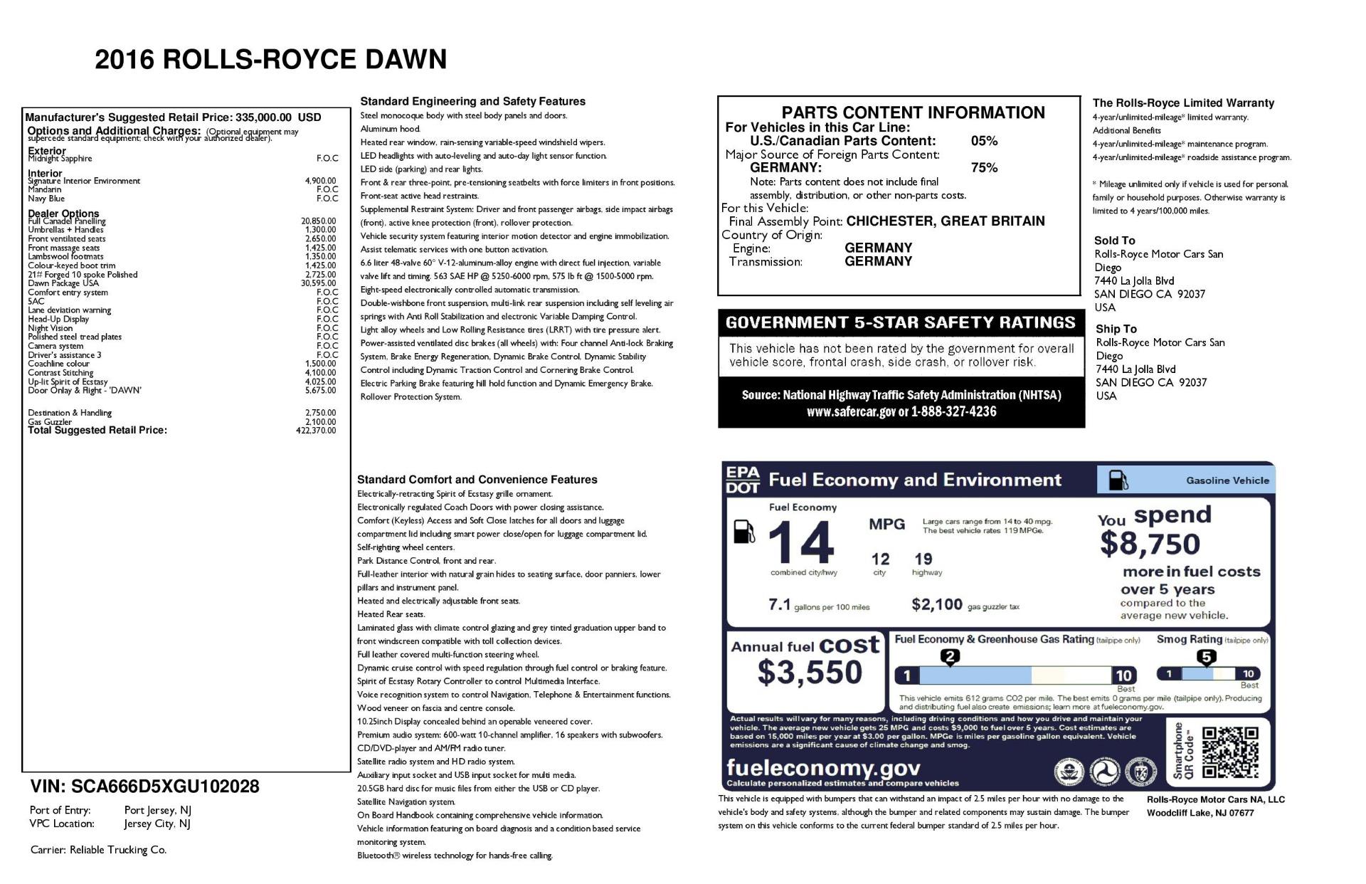 Used 2016 Rolls-Royce Dawn  For Sale In Greenwich, CT. Alfa Romeo of Greenwich, 7632 3430_p41