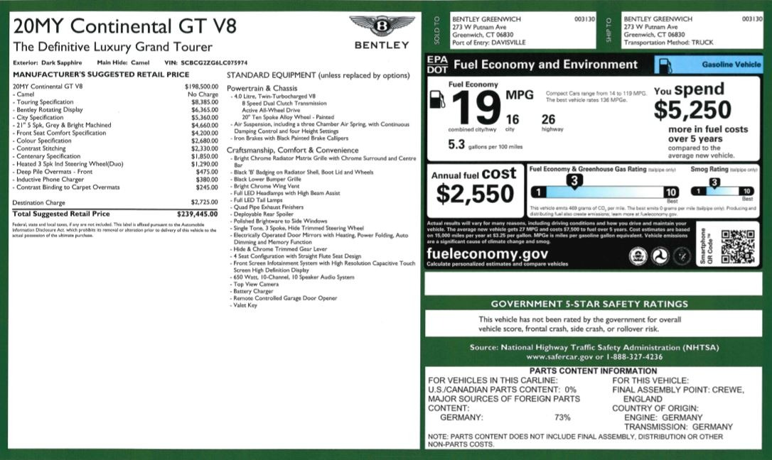 New 2020 Bentley Continental GT V8 For Sale In Greenwich, CT. Alfa Romeo of Greenwich, B1415 3456_p31