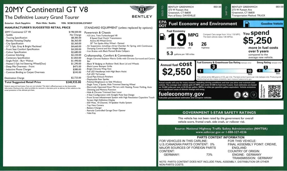New 2020 Bentley Continental GT V8 For Sale In Greenwich, CT. Alfa Romeo of Greenwich, B1427 3502_p31