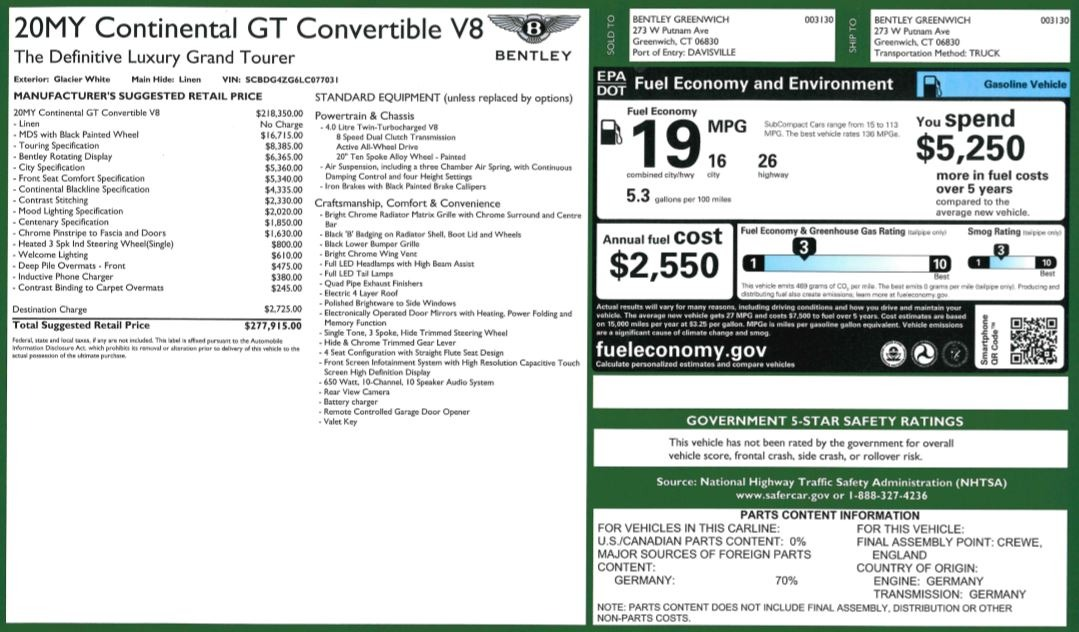 New 2020 Bentley Continental GTC V8 For Sale In Greenwich, CT. Alfa Romeo of Greenwich, B1451 3561_p43