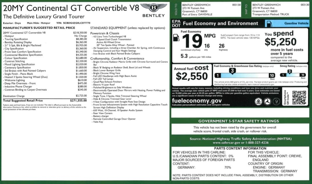New 2020 Bentley Continental GTC V8 For Sale In Greenwich, CT. Alfa Romeo of Greenwich, B1454 3575_p49