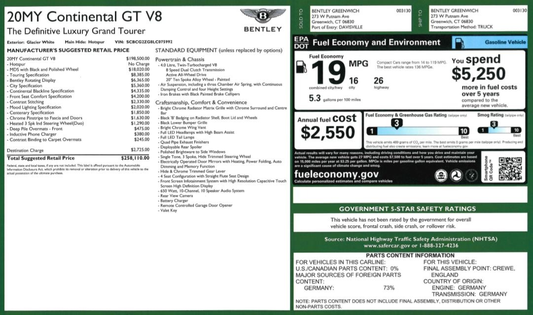 New 2020 Bentley Continental GT V8 For Sale In Greenwich, CT. Alfa Romeo of Greenwich, B1449 3590_p36