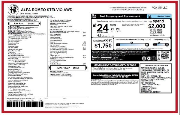 New 2018 Alfa Romeo Stelvio Q4 for sale Sold at Alfa Romeo of Greenwich in Greenwich CT 06830 26