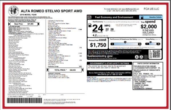 New 2018 Alfa Romeo Stelvio Sport Q4 for sale Sold at Alfa Romeo of Greenwich in Greenwich CT 06830 26