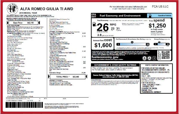 New 2018 Alfa Romeo Giulia Ti Q4 for sale Sold at Alfa Romeo of Greenwich in Greenwich CT 06830 26