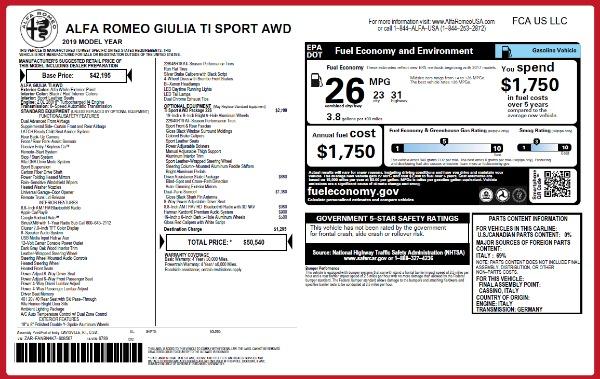 New 2019 Alfa Romeo Giulia Ti Sport Q4 for sale Sold at Alfa Romeo of Greenwich in Greenwich CT 06830 26