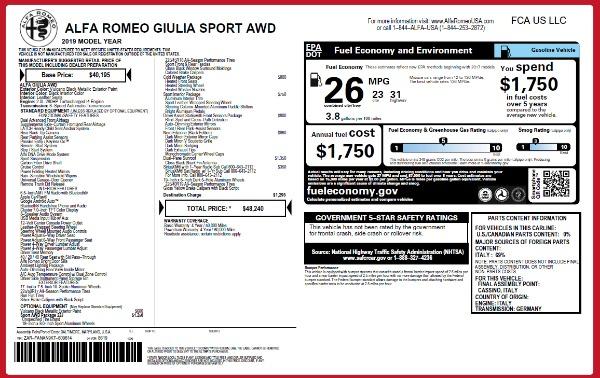 New 2019 Alfa Romeo Giulia Sport Q4 for sale Sold at Alfa Romeo of Greenwich in Greenwich CT 06830 24