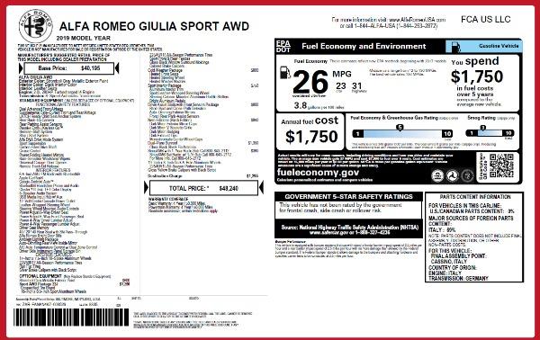 New 2019 Alfa Romeo Giulia Sport Q4 for sale Sold at Alfa Romeo of Greenwich in Greenwich CT 06830 26
