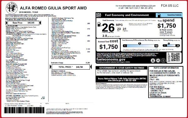New 2019 Alfa Romeo Giulia Sport Q4 for sale Sold at Alfa Romeo of Greenwich in Greenwich CT 06830 2