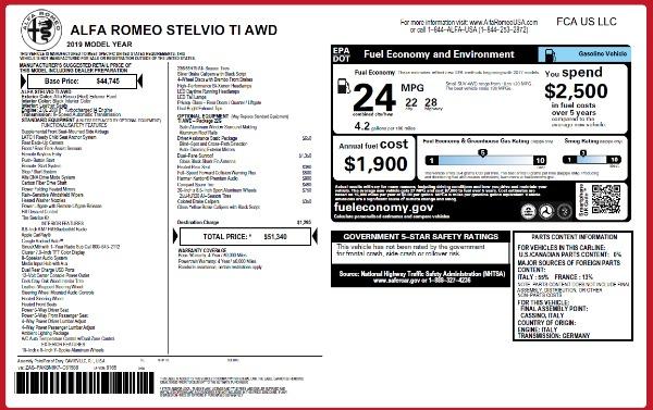 New 2019 Alfa Romeo Stelvio Ti Q4 for sale Sold at Alfa Romeo of Greenwich in Greenwich CT 06830 2