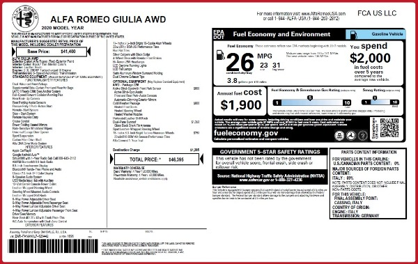 Used 2020 Alfa Romeo Giulia Q4 for sale Sold at Alfa Romeo of Greenwich in Greenwich CT 06830 24