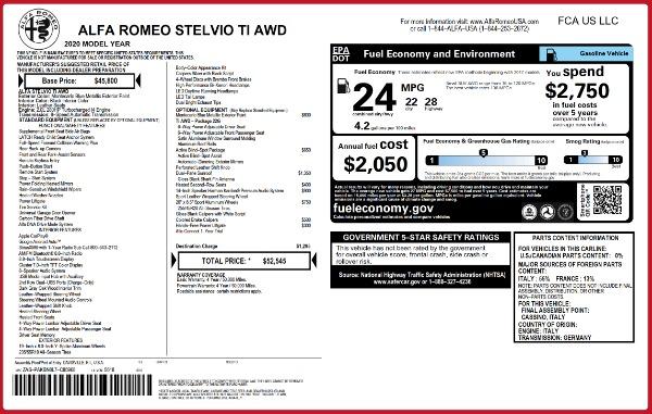 New 2020 Alfa Romeo Stelvio Ti Q4 for sale $52,545 at Alfa Romeo of Greenwich in Greenwich CT 06830 2