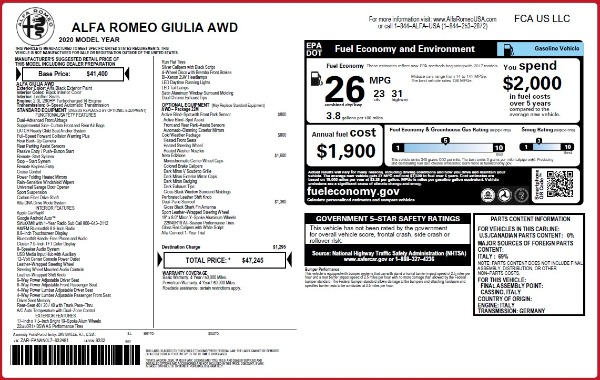 New 2020 Alfa Romeo Giulia Q4 for sale Sold at Alfa Romeo of Greenwich in Greenwich CT 06830 2