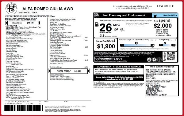New 2020 Alfa Romeo Giulia Q4 for sale $46,995 at Alfa Romeo of Greenwich in Greenwich CT 06830 2