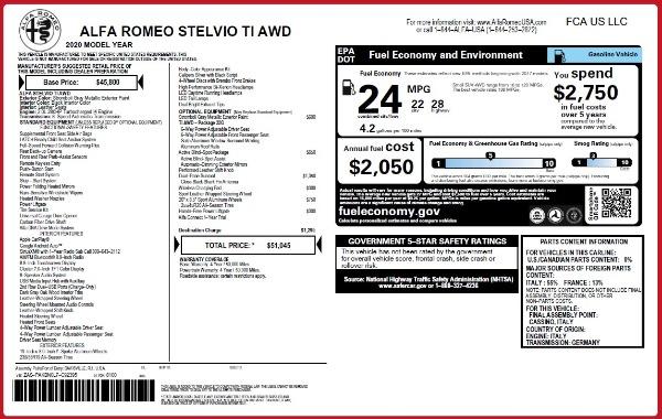 New 2020 Alfa Romeo Stelvio Ti Q4 for sale $51,045 at Alfa Romeo of Greenwich in Greenwich CT 06830 2