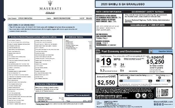 New 2020 Maserati Ghibli S Q4 GranLusso for sale $89,940 at Alfa Romeo of Greenwich in Greenwich CT 06830 6