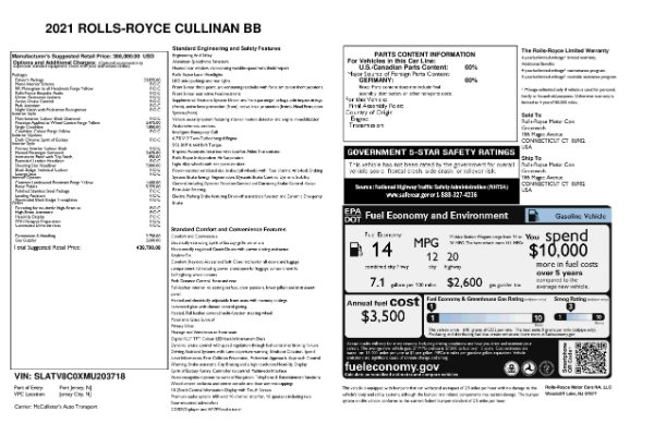 New 2021 Rolls-Royce Cullinan Black Badge for sale $439,700 at Alfa Romeo of Greenwich in Greenwich CT 06830 11