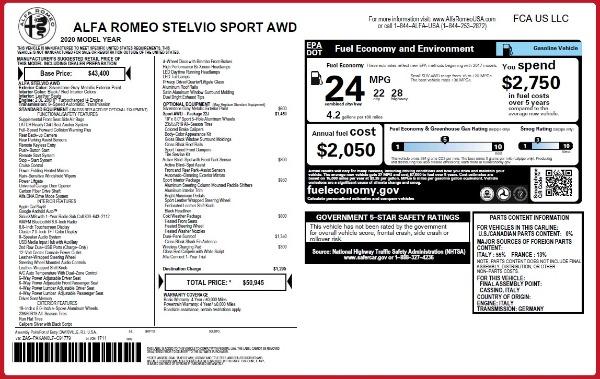 New 2020 Alfa Romeo Stelvio Sport Q4 for sale $50,945 at Alfa Romeo of Greenwich in Greenwich CT 06830 2
