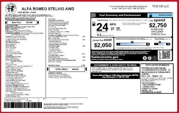 New 2020 Alfa Romeo Stelvio Q4 for sale $49,045 at Alfa Romeo of Greenwich in Greenwich CT 06830 2