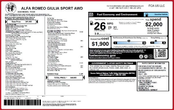New 2020 Alfa Romeo Giulia Sport Q4 for sale $48,895 at Alfa Romeo of Greenwich in Greenwich CT 06830 2