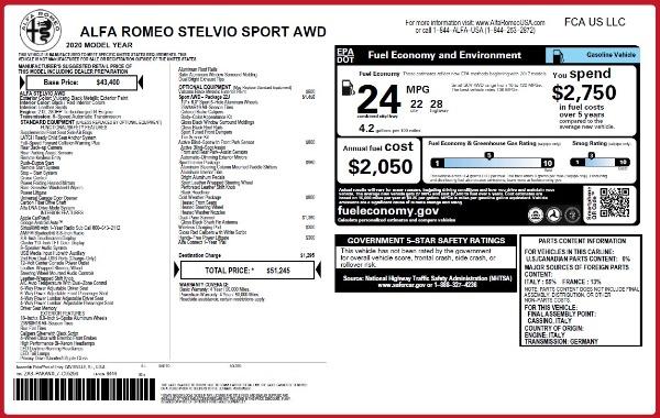 New 2020 Alfa Romeo Stelvio Sport Q4 for sale Sold at Alfa Romeo of Greenwich in Greenwich CT 06830 2