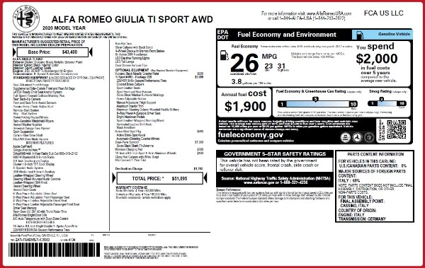 New 2020 Alfa Romeo Giulia Ti Sport Q4 for sale $51,095 at Alfa Romeo of Greenwich in Greenwich CT 06830 2
