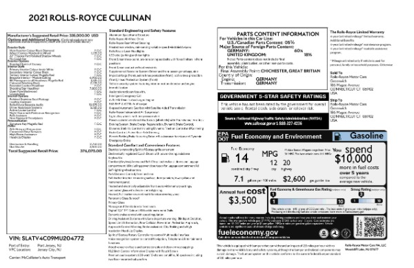 New 2021 Rolls-Royce Cullinan for sale $376,075 at Alfa Romeo of Greenwich in Greenwich CT 06830 9