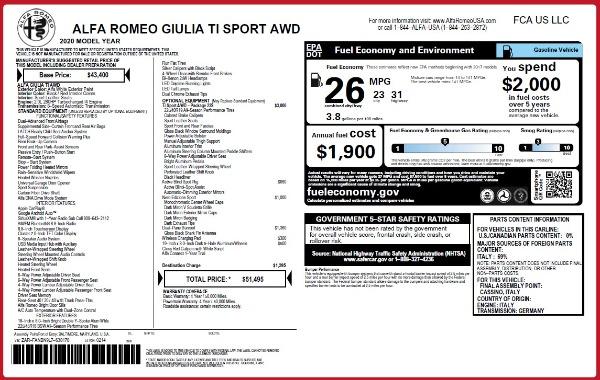 New 2020 Alfa Romeo Giulia Ti Sport Q4 for sale $51,495 at Alfa Romeo of Greenwich in Greenwich CT 06830 28