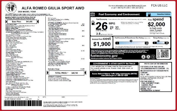 New 2020 Alfa Romeo Giulia Sport Q4 for sale Sold at Alfa Romeo of Greenwich in Greenwich CT 06830 2