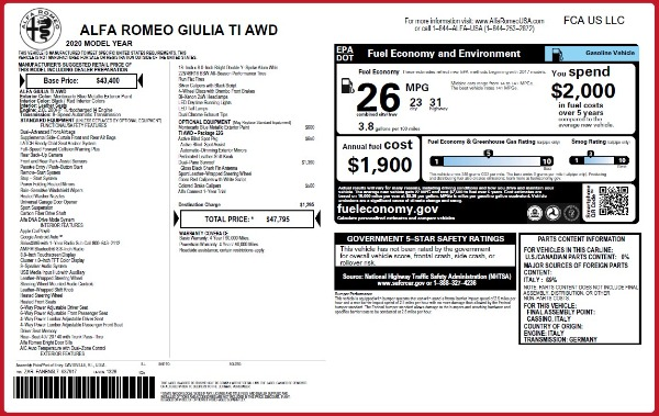 New 2020 Alfa Romeo Giulia Ti Q4 for sale $47,795 at Alfa Romeo of Greenwich in Greenwich CT 06830 28