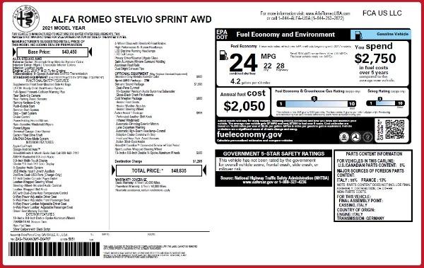 New 2021 Alfa Romeo Stelvio Q4 for sale $48,835 at Alfa Romeo of Greenwich in Greenwich CT 06830 28