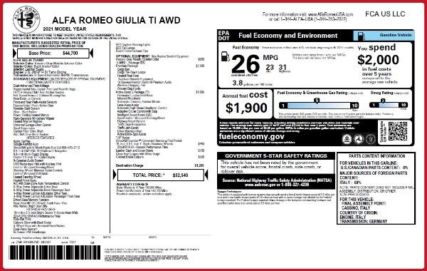 New 2021 Alfa Romeo Giulia Ti Q4 for sale Sold at Alfa Romeo of Greenwich in Greenwich CT 06830 27