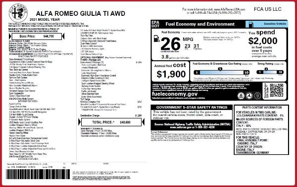 New 2021 Alfa Romeo Giulia Ti Q4 for sale $48,690 at Alfa Romeo of Greenwich in Greenwich CT 06830 2