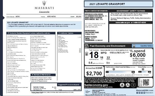 New 2021 Maserati Levante Q4 GranSport for sale $88,285 at Alfa Romeo of Greenwich in Greenwich CT 06830 2
