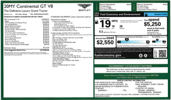 New 2020 Bentley Continental GT V8 for sale $283,430 at Alfa Romeo of Greenwich in Greenwich CT 06830 28