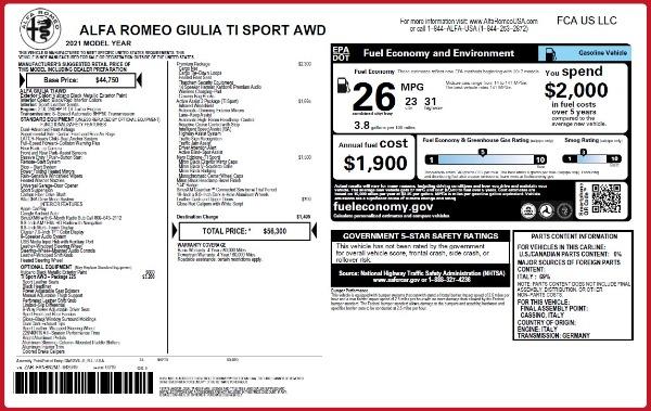 New 2021 Alfa Romeo Giulia Ti Sport Q4 for sale $56,300 at Alfa Romeo of Greenwich in Greenwich CT 06830 19