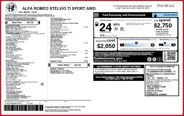 New 2021 Alfa Romeo Stelvio Ti Sport Q4 for sale $56,750 at Alfa Romeo of Greenwich in Greenwich CT 06830 2
