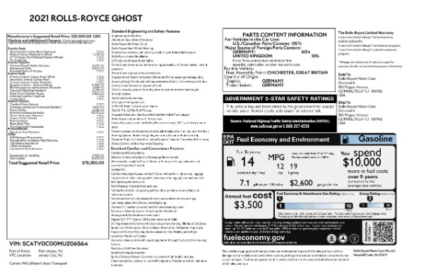 New 2021 Rolls-Royce Ghost for sale $378,350 at Alfa Romeo of Greenwich in Greenwich CT 06830 8
