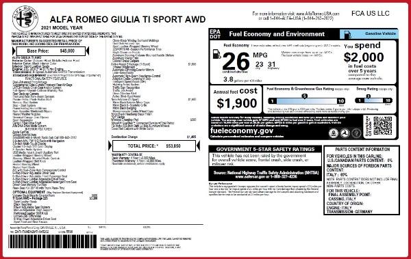 New 2021 Alfa Romeo Giulia Ti Sport Q4 for sale $53,850 at Alfa Romeo of Greenwich in Greenwich CT 06830 25