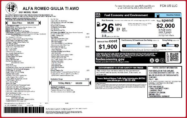 New 2021 Alfa Romeo Giulia Ti Q4 for sale $50,850 at Alfa Romeo of Greenwich in Greenwich CT 06830 2