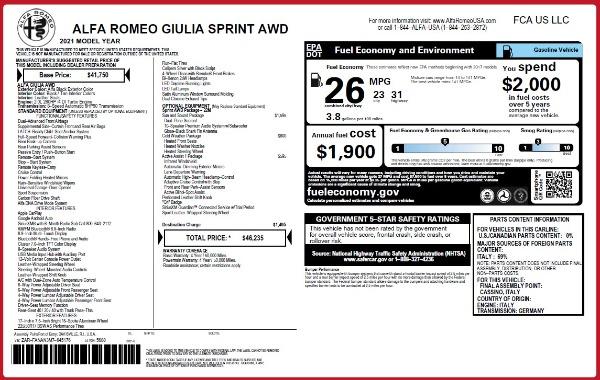 New 2021 Alfa Romeo Giulia Q4 for sale $46,235 at Alfa Romeo of Greenwich in Greenwich CT 06830 2