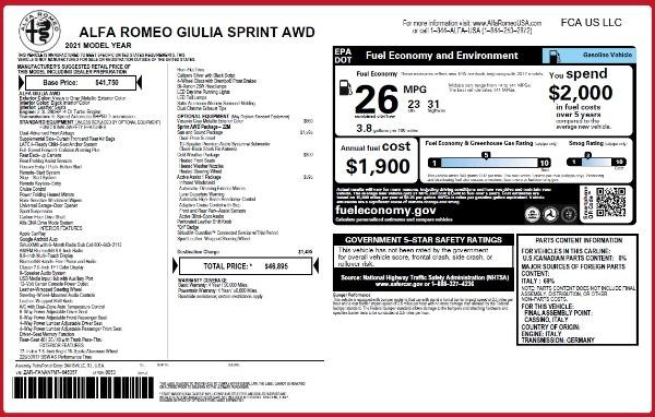 New 2021 Alfa Romeo Giulia Q4 for sale $46,895 at Alfa Romeo of Greenwich in Greenwich CT 06830 26