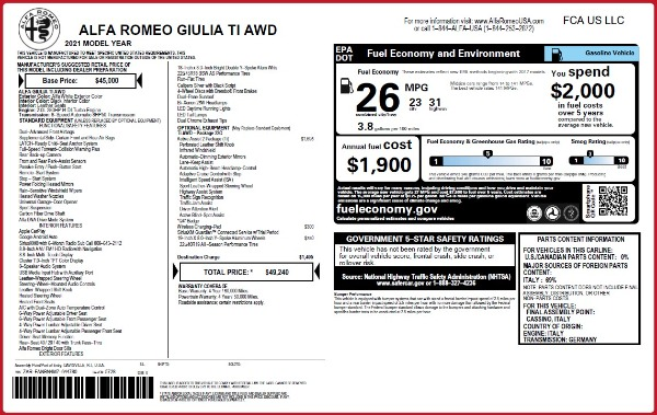 New 2021 Alfa Romeo Giulia Ti Q4 for sale $49,240 at Alfa Romeo of Greenwich in Greenwich CT 06830 2