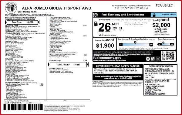 New 2021 Alfa Romeo Giulia Ti Sport Q4 for sale $55,550 at Alfa Romeo of Greenwich in Greenwich CT 06830 2