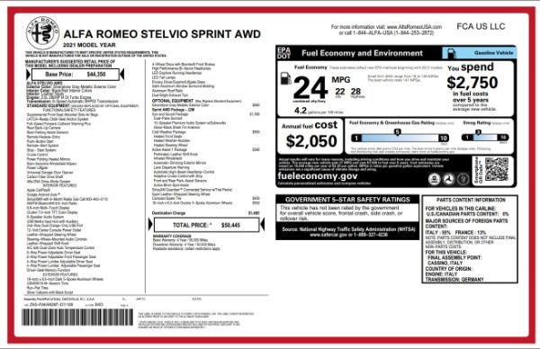 New 2021 Alfa Romeo Stelvio Q4 for sale $49,845 at Alfa Romeo of Greenwich in Greenwich CT 06830 2