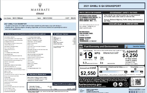 New 2021 Maserati Ghibli S Q4 GranSport for sale $100,285 at Alfa Romeo of Greenwich in Greenwich CT 06830 28
